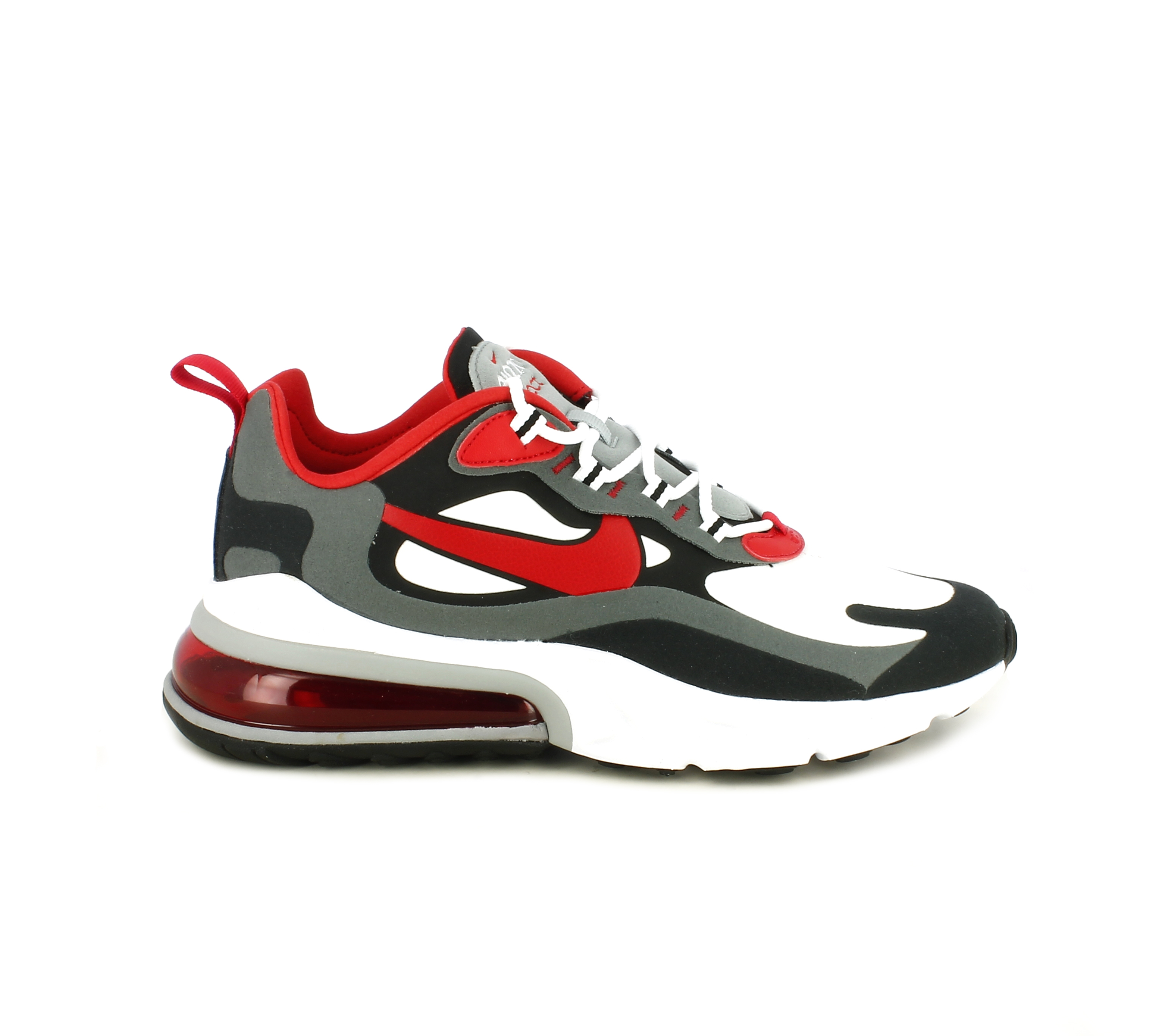 Air Max 270 React, Negro/Blanco/Gris hierro/Rojo universitario